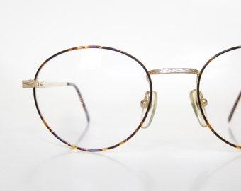 Vintage Round Eyeglasses Wire Rim Womens 1980s Geek Chic Frames Glasses Tortoiseshell Metallic Gold Bronze Geeky Nerd Fashion Deadstock