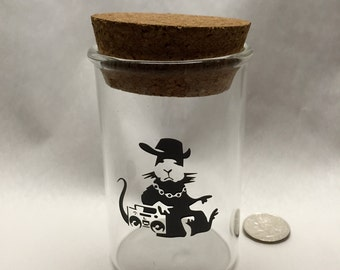 Large Banksy Inspired Blown Glass Jar Perfect for Pipe Tobacco or any other needs...  Seemyglass.com