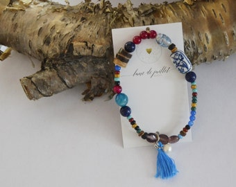 Bracelet oiseau bleu coloré perle nature zen bohème