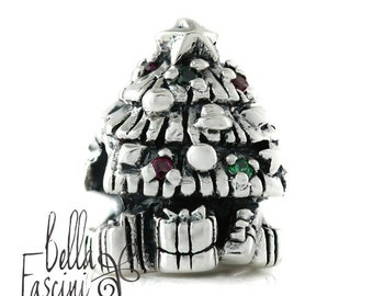 Christmas Tree with CZ Lights and Presents Bead Charm - 925 Silver - Fits Pandora and Compatible Brand Bracelets - BELLA FASCINI® F-129N