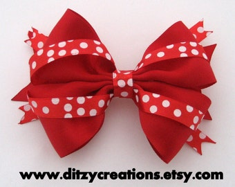 Red and white Spots Christmas Girls Hair Bow 4 Inches