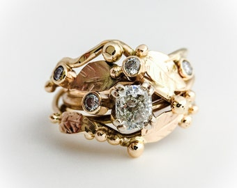14K Gold Diamond Wedding Ring Twig Vine Ring Custom Made To Order Handmade Wedding Ring Wild Prairie Silver Jewelry