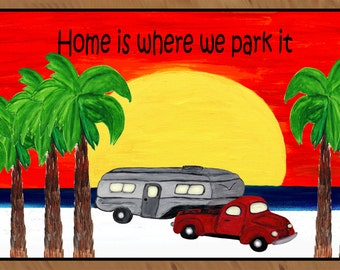 Home is Where we Park it Beach Giant Sunset 5th Wheel Trailer Camping  Indoor - Outdoor Floor Mat from my art