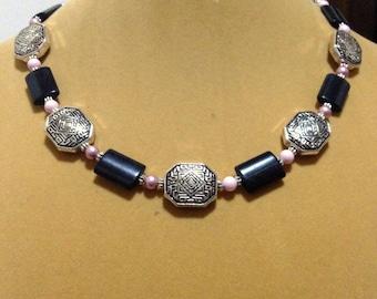 SALE    Black Obsidian, Pink Pastel & Dusty Rose Swarovski Pearl and Silver Necklace Gemstone Necklace Pearl necklace Pink necklace, black