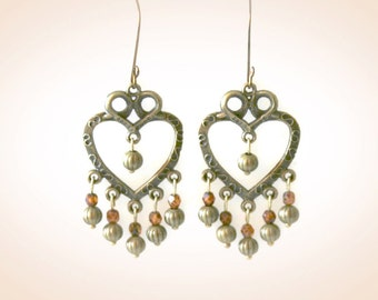 Bohemian Bronze Heart Earrings. Statement Brass Earrings. Matching Necklace Also Available