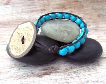 Layering Gemstone Bracelet - Single Wrap Gemstone Bracelet - Stacking Bracelet - Leather Bracelet - Howlite Jewelry - Leather Wrap Bracelet
