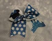 Blue and White Custom Sparkle Princess Minnie Disney Cheer Bow