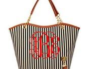 Monogram Tote Large Handbag arrows Black Red Blue White