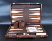 Vintage Backgammon Game in Brown Carrying Case