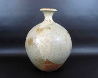 Vintage Stoneware Studio Pottery Vase Glazed in Brown, Blue and Grey - Stamped. Circa 1960's.