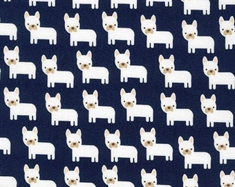Urban Zoologie Minis Dogs Navy Robert Kaufman Fabric
