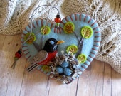 Robin and Nest Ornament - Made to Order Embroidered Fiber Art
