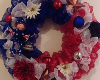 4th of July Patriotic Red, White and Blue Annalee Front Door Wreath
