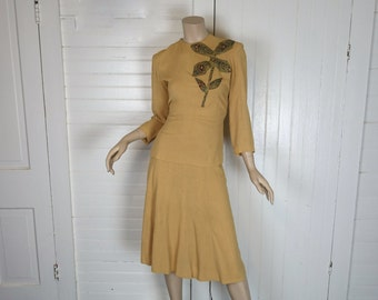 40s Yellow Suit- 1940s Skirt + Blouse- Back Buttons- Tan- Pin Up / WWII / 1940s