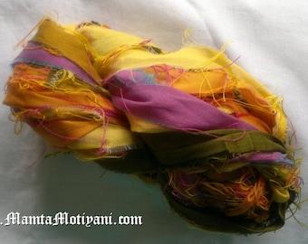 Multicolor Recycled Sari Silk Ribbon, Autumn Yarn, Earth Tones Yarn, Dupioni Ribbon, Silk Dupioni Ribbon, Recycled Silk Yarn, Jewelry Supply
