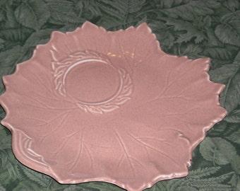 vintage peach colored ceramic leaf-shaped dish - Deubenville
