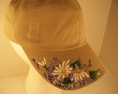 Women's Baseball Cap Beige with Hand Painted Daisies