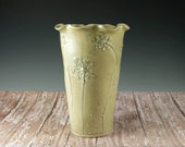 Reserved for Bob - 2 Chocolate Brown Pottery Flower Vases - Ceramic Vase of Queen's Anne's Lace
