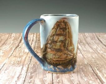 Tall Ships Pottery Mug - Sailboats - Ceramic Coffee Mug - 402