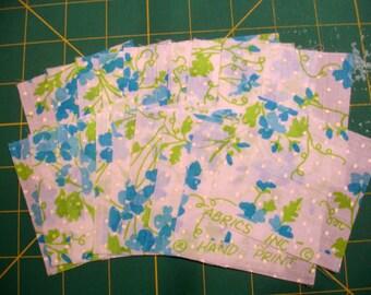 "Rare Vintage Blue Key West Fabrics, 3"" Squares"
