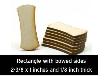 Unfinished Wood Rectangle - 2-3/8 tall by 1 inch wide and 1/8 inch thick (RTBW01)
