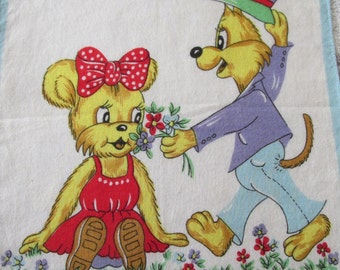 Handkerchiefs Child's Fox with Bear and a Cowboy Set of 2