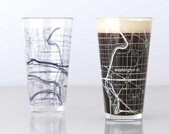 Washington, DC - Georgetown - College Town Pint Map Glasses