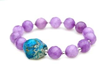 Lilac Purple Jade Beaded Bracelet Ocean Blue Sediment Jasper Nugget Stretch Gemstone Cool Summer Fun Funky Arm Candy Arm Party by Mei Faith