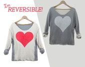 Two Sided Heart - Reversible Scoop Neck Textured Cropped Sweatshirt in Red White and Heather Grey - EXTENDED SIZES S M L XL 2XL 3XL