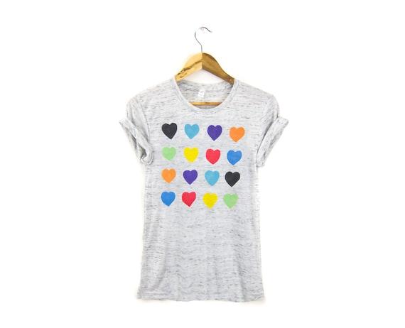 Grid Hearts Tee - Boyfriend Fit Crew Neck Rolled Cuffs T-Shirt in Grey White Striped Multi Rainbow - Women's Size S-3XL