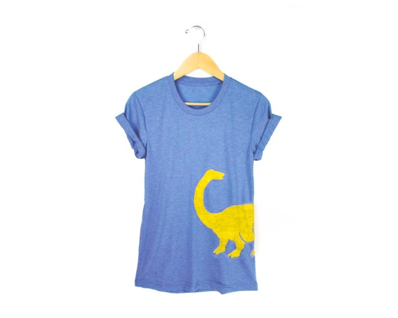 Dino Tee - Boyfriend Fit Crew Neck T-shirt with Rolled Cuffs in Heather Blue and Yellow - Women's Size S-4XL