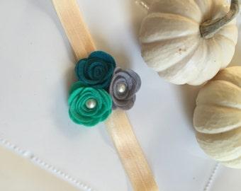 Trinity - felt flower trio headband - green, navy and gray