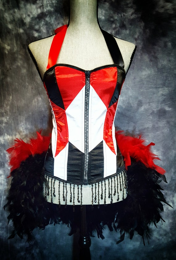 GEOMETRIC Red White Black Burlesque Can Can Costume Corset Harley Quinn Dress with feathers
