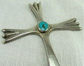 Vintage Silver and Turquoise Cross Pendant