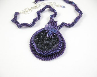 Embroidered Amethyst Druzy Pendant with Woven Bead Necklace