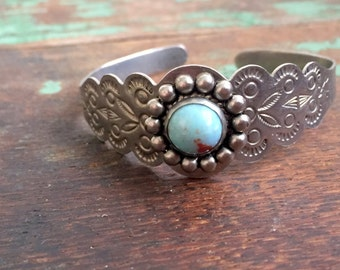 Vintage Soutwestern style baby child cuff bracelet Silvertone Faux Turquoise