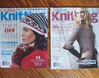 2 Creative Knitting Magazines Winter 2015 and Autumn 2014 Knitting Patterns Free US Shipping!