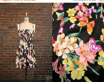Vintage 70s Smocked Sundress Butterfly Print 1970s Floral Mini Dress (XS)