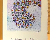"Swarm Of Love Watercolor Original Card ""Big Card"" 5x7 With Matching Envelope  betrueoriginals"