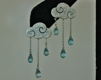 Sweet clouds - sterling silver earrings with blue topaz drops