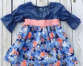 Girls Fall dress - LIMITED EDITION Les Fleurs Dress- From the Fall 2016 Collection by Mellon Monkeys
