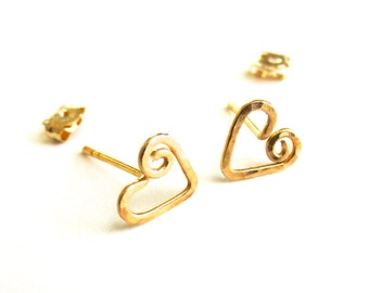 Solid Gold Heart Studs. Solid 14k Gold Hand Hammered Heart Stud Earrings.