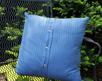 Upcycled Pillow Cover Blue White Plaid Pillow 18 inch pillow cover recycled mens shirt home decor preppy decor Quiltsy Handmade
