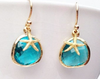 Aquamarine Blue Crystal EARRINGS Starfish Earrings Gold Bridal Something Blue Wedding  Bohemian Mermaid