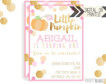Pumpkin Invitation   Digital or Printed   Pumpkin Party   Glitter Pumpkin Invite   Girl Pumpkin   Gold Glitter Invitation   Little Pumpkin