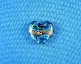 Beautiful Handmade Silver Glass Heart Bead