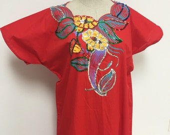 Red Kaftan Painted Floral Design and Sequins - Jasmin Kaftan - Jasmin Tunic - Easy Wear - Resort - Casual Dress - Plus Size - 50 Bust