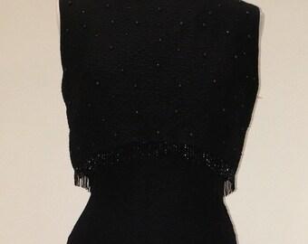 1950s 1960s Vintage Little Black Dress - Beads and Studs - Sleeveless Boatneck Cocktail Dress Semi Formal - Polished Elegant  - 38 Bust