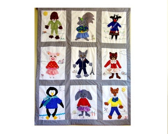 Custom Baby Quilt- Animals in Fancy Dress Reflecting Baby's Cultural Heritage