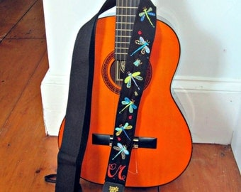 Custom Hand Embroidered Guitar Strap - Dragonflies and Beetles and Bugs/Insects/Personalized Handmade Guitar Strap